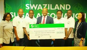 SSSA representatives receive their donation towards the development of sports in schools